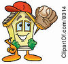 Clipart Picture Of A House Mascot Cartoon Character Catching A Baseball With A Glove by Toons4Biz