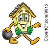 Clipart Picture Of A House Mascot Cartoon Character Holding A Bowling Ball by Toons4Biz