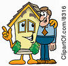 Clipart Picture Of A House Mascot Cartoon Character Talking To A Business Man by Toons4Biz