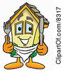 Clipart Picture Of A House Mascot Cartoon Character Holding A Knife And Fork by Toons4Biz