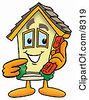 Clipart Picture Of A House Mascot Cartoon Character Holding A Telephone by Toons4Biz