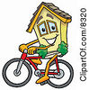 Clipart Picture Of A House Mascot Cartoon Character Riding A Bicycle by Toons4Biz