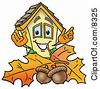 Clipart Picture Of A House Mascot Cartoon Character With Autumn Leaves And Acorns In The Fall by Toons4Biz
