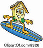 Clipart Picture Of A House Mascot Cartoon Character Surfing On A Blue And Yellow Surfboard by Toons4Biz