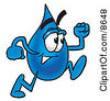 Clipart Picture Of A Water Drop Mascot Cartoon Character Running by Toons4Biz
