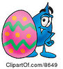 Clipart Picture Of A Water Drop Mascot Cartoon Character Standing Beside An Easter Egg by Toons4Biz