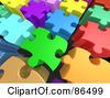 Royalty Free RF Clipart Illustration Of A Background Of 3d Tall Colorful Puzzle Pieces With Space Between Them by 3poD