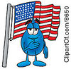 Clipart Picture Of A Water Drop Mascot Cartoon Character Pledging Allegiance To An American Flag by Toons4Biz