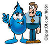 Clipart Picture Of A Water Drop Mascot Cartoon Character Talking To A Business Man by Toons4Biz