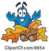 Clipart Picture Of A Water Drop Mascot Cartoon Character With Autumn Leaves And Acorns In The Fall by Toons4Biz