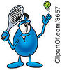 Clipart Picture Of A Water Drop Mascot Cartoon Character Preparing To Hit A Tennis Ball by Toons4Biz