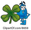 Clipart Picture Of A Water Drop Mascot Cartoon Character With A Green Four Leaf Clover On St Paddys Or St Patricks Day by Toons4Biz