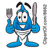 Clipart Picture Of A Water Drop Mascot Cartoon Character Holding A Knife And Fork by Toons4Biz
