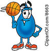 Clipart Picture Of A Water Drop Mascot Cartoon Character Spinning A Basketball On His Finger by Toons4Biz
