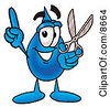 Clipart Picture Of A Water Drop Mascot Cartoon Character Holding A Pair Of Scissors by Toons4Biz