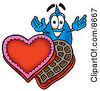 Clipart Picture Of A Water Drop Mascot Cartoon Character With An Open Box Of Valentines Day Chocolate Candies by Toons4Biz