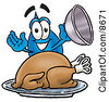 Clipart Picture Of A Water Drop Mascot Cartoon Character Serving A Thanksgiving Turkey On A Platter by Toons4Biz