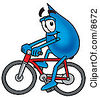 Clipart Picture Of A Water Drop Mascot Cartoon Character Riding A Bicycle by Toons4Biz