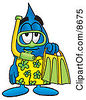 Clipart Picture Of A Water Drop Mascot Cartoon Character In Green And Yellow Snorkel Gear by Toons4Biz