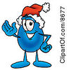 Clipart Picture Of A Water Drop Mascot Cartoon Character Wearing A Santa Hat And Waving by Toons4Biz