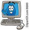 Clipart Picture Of A Water Drop Mascot Cartoon Character Waving From Inside A Computer Screen by Toons4Biz