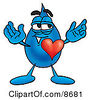 Clipart Picture Of A Water Drop Mascot Cartoon Character With His Heart Beating Out Of His Chest by Toons4Biz