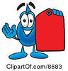 Clipart Picture Of A Water Drop Mascot Cartoon Character Holding A Red Sales Price Tag by Toons4Biz