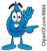 Clipart Picture Of A Water Drop Mascot Cartoon Character Waving And Pointing by Toons4Biz