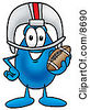 Clipart Picture Of A Water Drop Mascot Cartoon Character In A Helmet Holding A Football by Toons4Biz