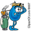Clipart Picture Of A Water Drop Mascot Cartoon Character Swinging His Golf Club While Golfing by Toons4Biz