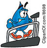 Clipart Picture Of A Water Drop Mascot Cartoon Character Walking On A Treadmill In A Fitness Gym by Toons4Biz