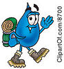 Clipart Picture Of A Water Drop Mascot Cartoon Character Hiking And Carrying A Backpack by Toons4Biz