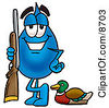 Clipart Picture Of A Water Drop Mascot Cartoon Character Duck Hunting Standing With A Rifle And Duck by Toons4Biz