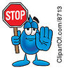 Clipart Picture Of A Water Drop Mascot Cartoon Character Holding A Stop Sign by Toons4Biz