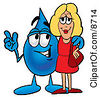 Clipart Picture Of A Water Drop Mascot Cartoon Character Talking To A Pretty Blond Woman by Toons4Biz