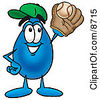 Clipart Picture Of A Water Drop Mascot Cartoon Character Catching A Baseball With A Glove by Toons4Biz