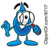Clipart Picture Of A Water Drop Mascot Cartoon Character Looking Through A Magnifying Glass by Toons4Biz