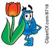 Clipart Picture Of A Water Drop Mascot Cartoon Character With A Red Tulip Flower In The Spring by Toons4Biz