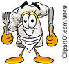 Clipart Picture Of A Chefs Hat Mascot Cartoon Character Holding A Knife And Fork by Toons4Biz