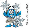 Clipart Picture Of A Desktop Computer Mascot Cartoon Character With Three Snowflakes In Winter by Toons4Biz