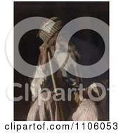 Tired Senior Arab Man Sitting And Leaning Against His Cane Yemen Royalty Free Historical Stock Photo by JVPD