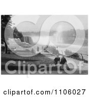 Tourists Watching The Waterfalls At Prospect Point Niagara Royalty Free Historical Stock Photography by JVPD