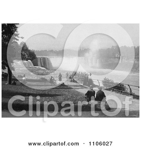 Tourists Watching The Waterfalls At Prospect Point, Niagara - Royalty Free Historical Stock Photography by JVPD