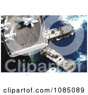 Tugboats Beside An Aircraft Carrier With Military Jets On Board In Guam Free Stock Photography