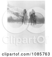 Two Apsaroke Indian Men On Horses In Winter Free Historical Stock Photography