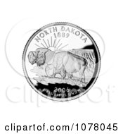 Two Buffalo In The Badlands On The North Dakota State Quarter Royalty Free Stock Photography