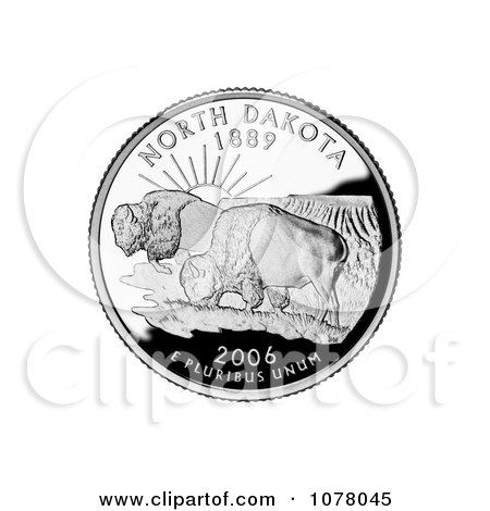 Two Buffalo in the Badlands on the North Dakota State Quarter - Royalty Free Stock Photography by JVPD