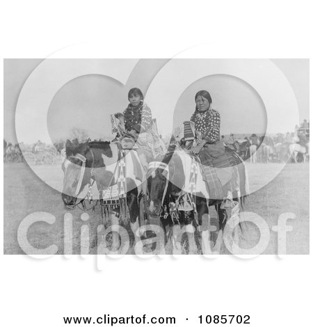 Two Crow Indian Girls on Horseback - Free Historical Stock Photography by JVPD
