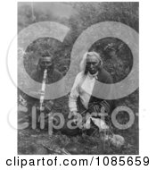 Two Crow Indians Smoking Free Historical Stock Photography