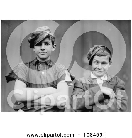 Two Grinning Glassworker Boys Posing With Their Arms Crossed In1909 - Free Historical Stock Photography Photography by JVPD